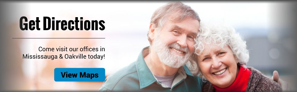 Get Directions | Come visit our offices in Mississauga & Oakville today | View Maps - couple with nice new dentures